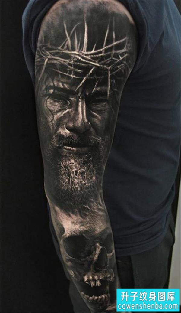 大坪纹身 - 时尚大气的欧美写实花臂纹身图案大