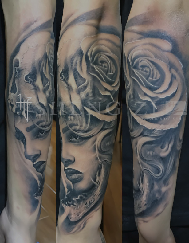 小臂欧美黑白肖像纹身图案