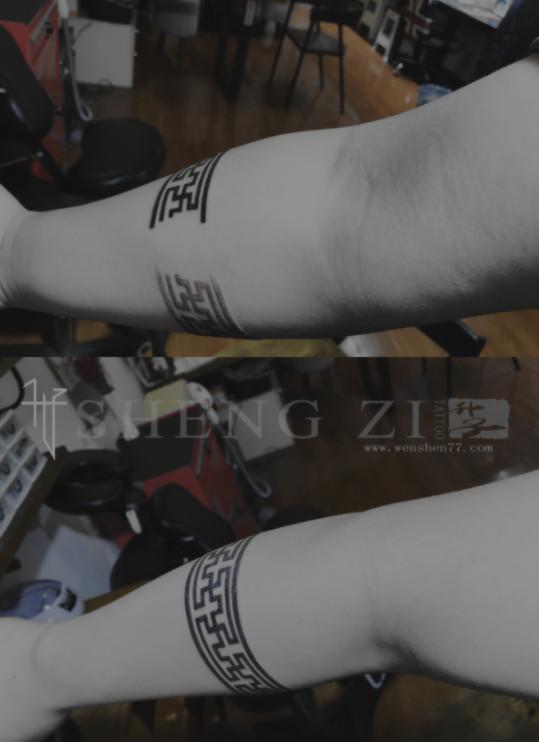 手臂臂环纹身图片