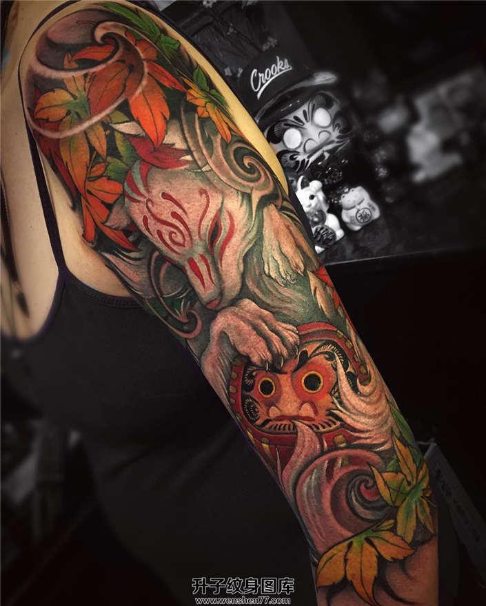 沙坪坝纹身 手臂狐狸与达摩蛋纹身图案大全
