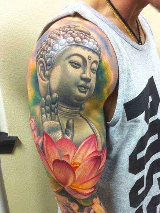 大臂彩色写实佛与莲花纹身图案大全 重庆纹身店