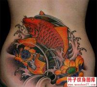 后腰鲤鱼纹身图片