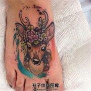 脚背彩色小清新鹿纹身