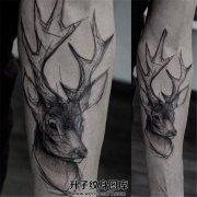 男生小臂黑灰鹿纹身