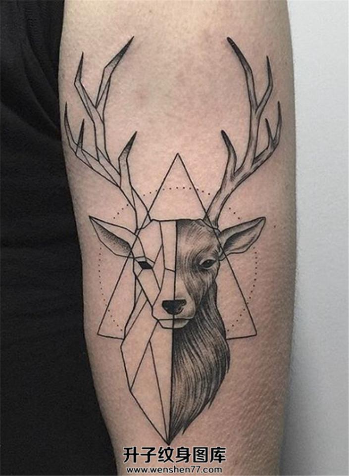 适合女生的线条与几何鹿纹身