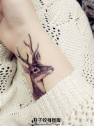 女生小清新手腕处鹿纹身