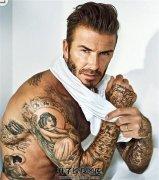 帅气的明星贝克汉姆手臂的天使纹身图案