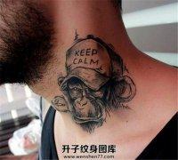 颈部冷静大猩猩纹身