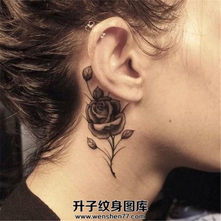 耳后脖子侧面的黑灰玫瑰花