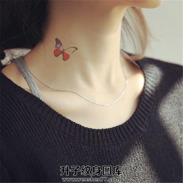 清新彩色小蝴蝶纹身