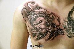 胸口大圣纹身图案
