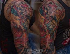 大臂大圣与龙纹身图案