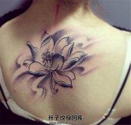 女生背部素雅荷花纹身