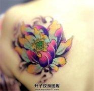 后肩背部的彩色荷花纹身