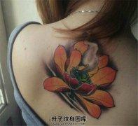 女性背部传统荷花纹身