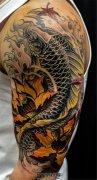 传统鲤鱼荷花纹身
