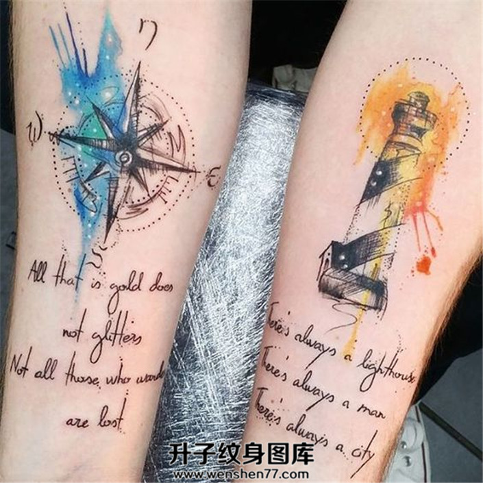 小臂泼墨指南针灯塔英文纹身图案