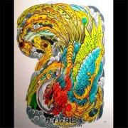 彩色传统半甲凤凰纹身手稿
