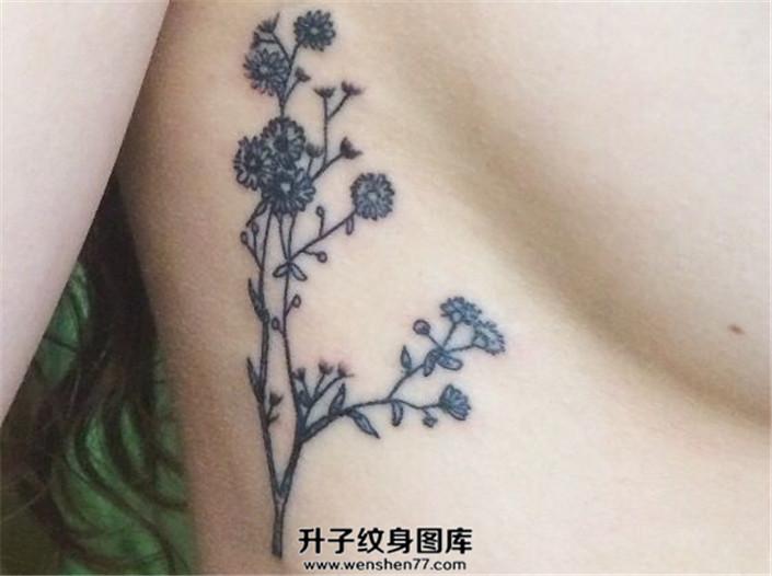 女性侧胸小清新花朵纹身