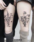 闺蜜大腿上的植物纹身