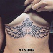 女性性感胸下翅膀钻石皇冠纹身