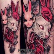 小臂new school猫纹身兔子面具纹身