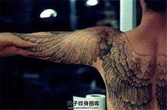 男性后背大臂翅膀纹身图案