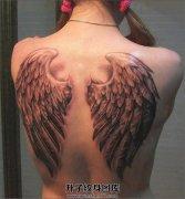 女性背部立体感很强的翅膀纹身