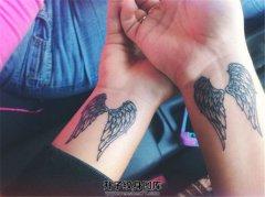 情侣手腕翅膀纹身图案