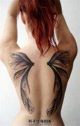 女性背部蝴蝶翅膀纹身图案