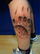 男性小腿欧美3D爪印纹身