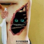 女性侧腰3D柴郡猫纹身