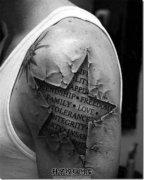 男性大臂3D星星英文纹身