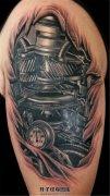 男性3D大臂机械纹身