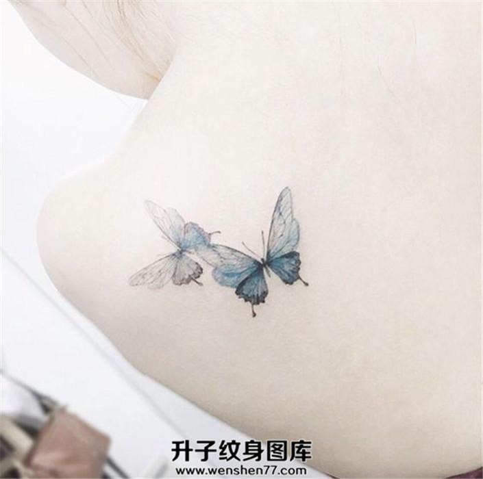 女性后肩背部的两只漂亮蝴蝶