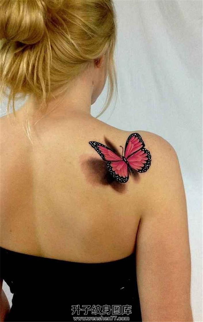 安静的肩上蝶纹身
