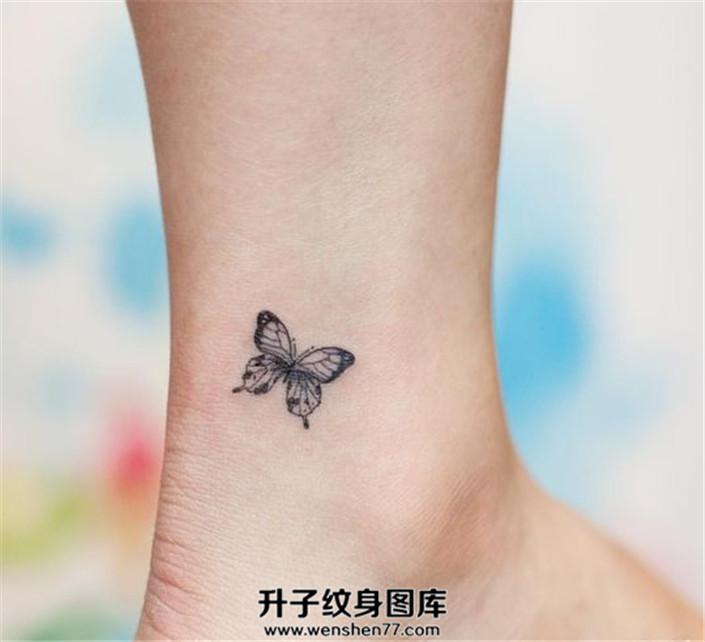 女生脚踝小清新蝴蝶一只