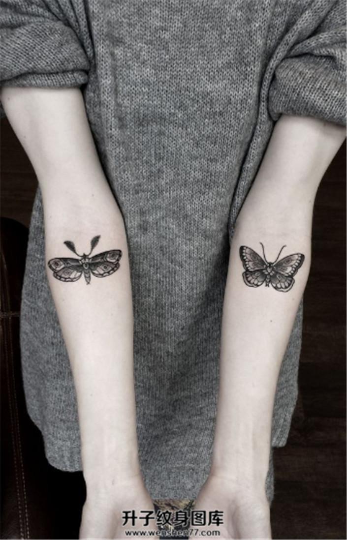 女生双侧小臂蝴蝶飞蛾纹身
