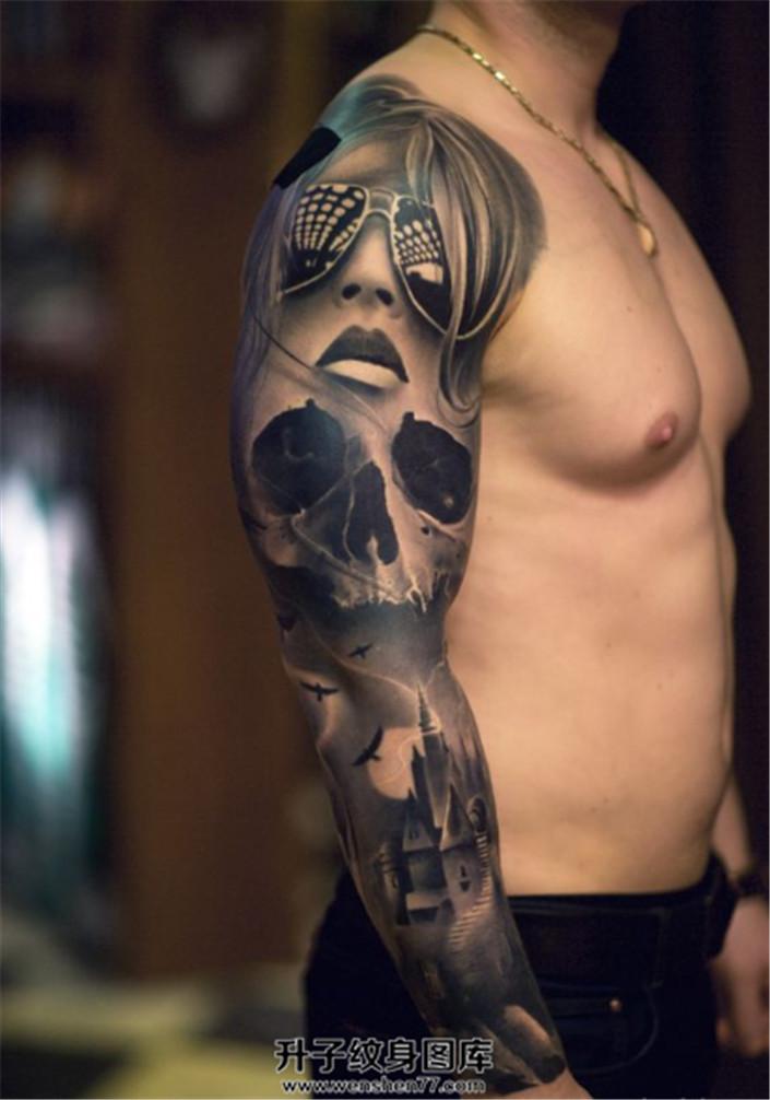 炫酷墨镜女骷髅素材欧美花臂纹身
