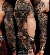 男性黑灰武士骷髅素材花臂纹身