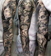 男性欧美写实黑灰色花臂纹身