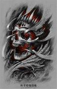 3D骷髅国王纹身手稿