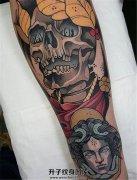 男性小臂上的欧美new school骷髅纹身