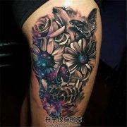 女性大腿彩色骷髅纹身