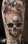 男性小臂个性骷髅纹身