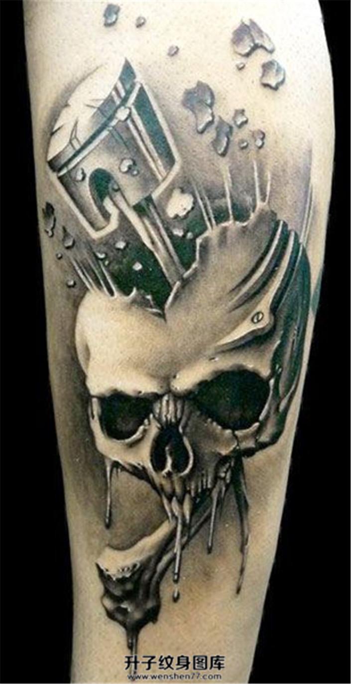 男性小臂破碎的骷髅纹身