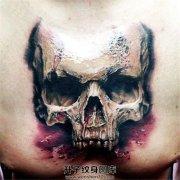 男性胸口欧美风格骷髅纹身