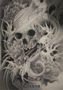 传统骷髅牡丹纹身手稿