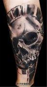 男性小腿漂亮的骷髅纹身