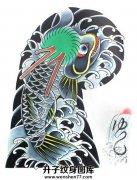 日式老传统半甲纹身手稿